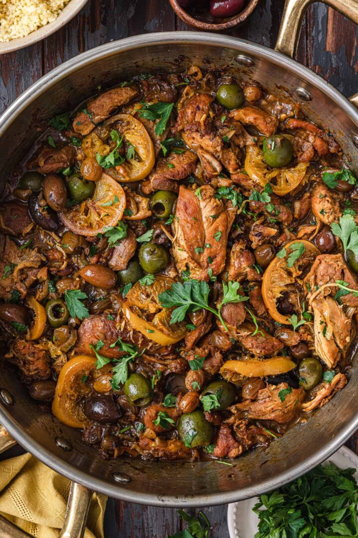 A close up overhead photo of Moroccan Chicken Tagine.