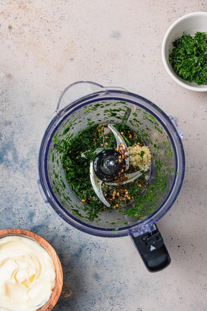 Chopped herbs with seasonings.