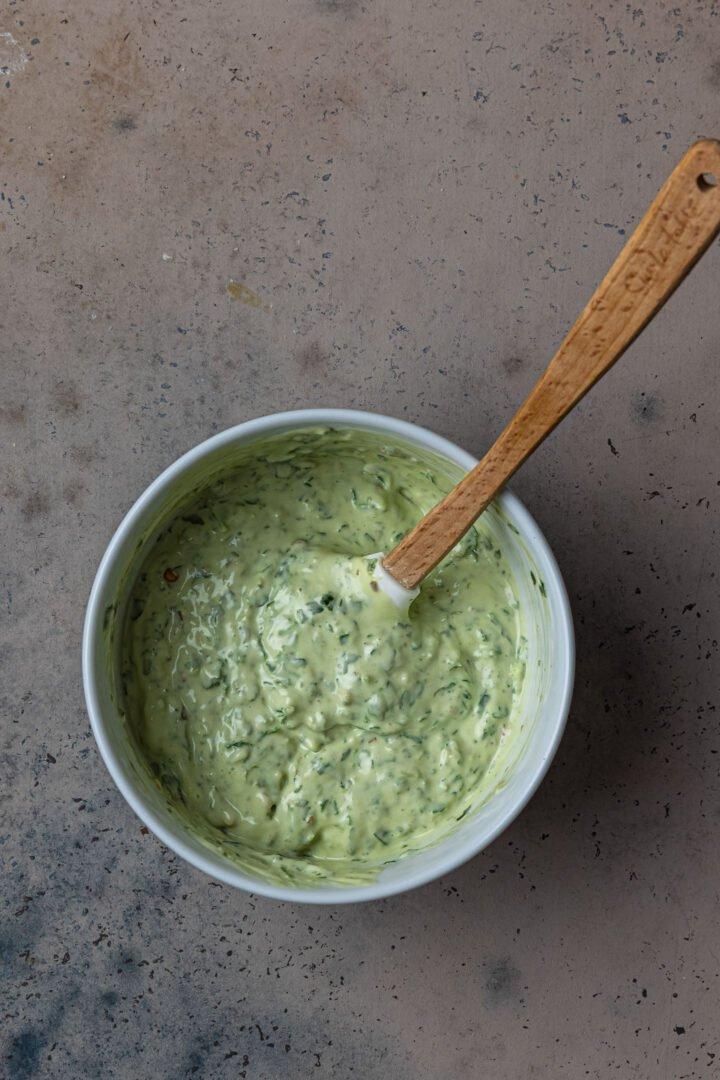 Chimichurri mayo in a bowl.