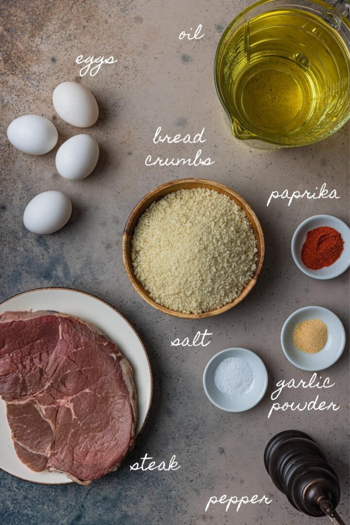 A photo of all the ingredients to make finger steaks.