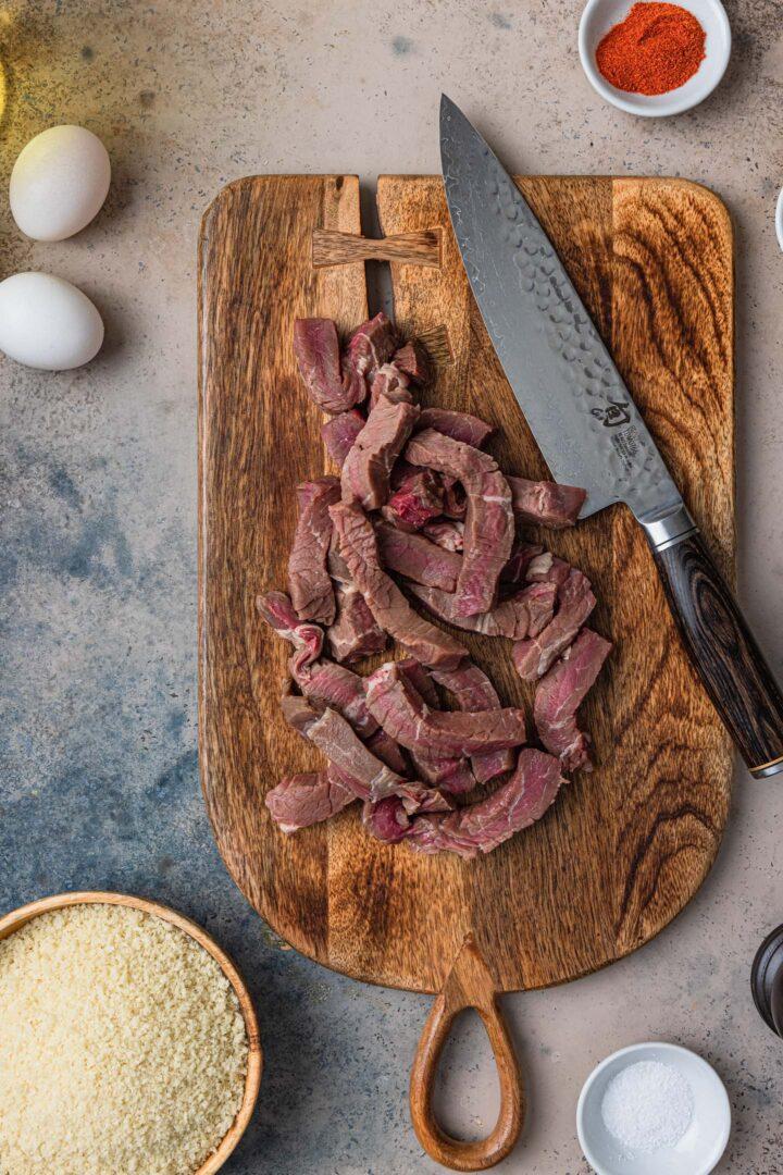 Sirloin steak cut in finger shape for finger steaks.