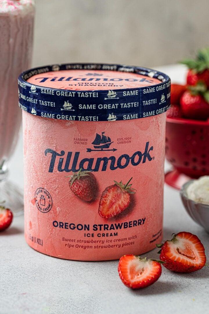 A carton of Tillamook Oregon Strawberry ice cream.