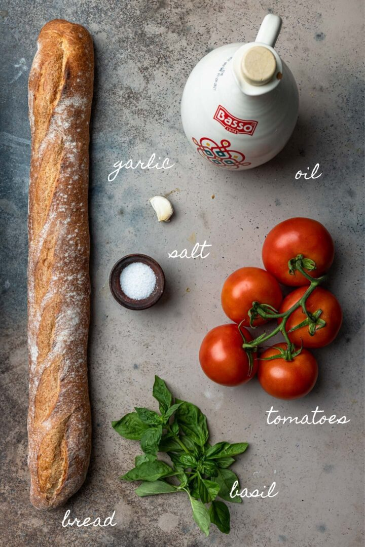 A photo of the ingredients to make bruschetta.