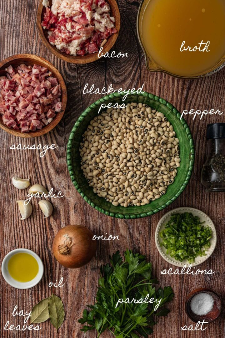 A photo of all the ingredients needed to make this black-eyed peas recipe.
