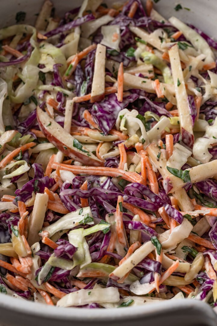 Close up of apple coleslaw.