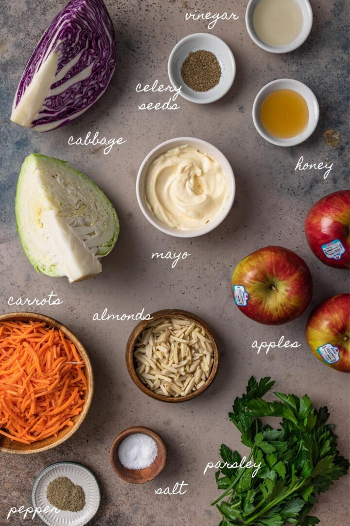 A photo of all the ingredients to make this apple slaw recipe.