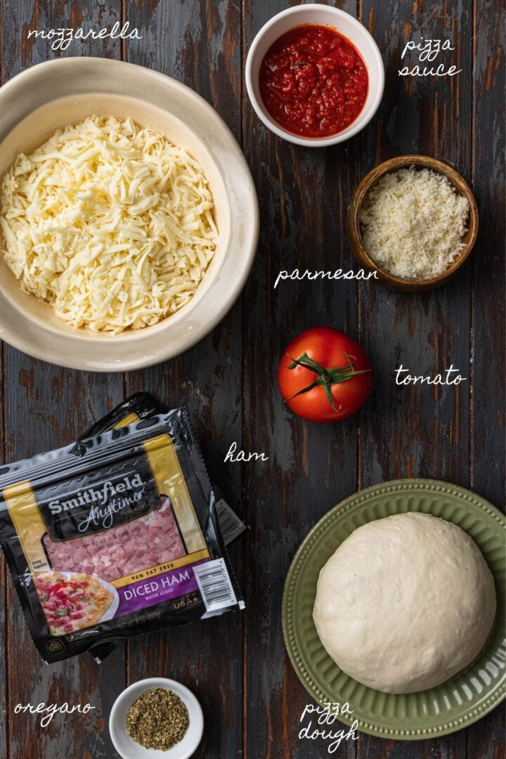 A photo of all the ingredients to make this calzone recipe.