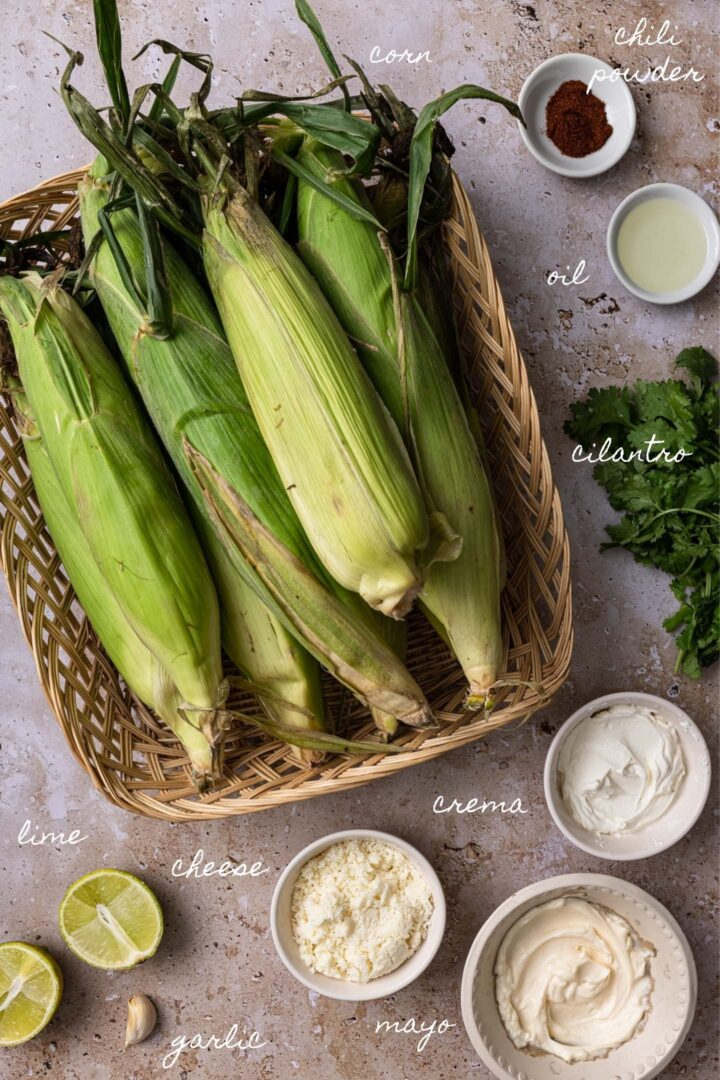 A photo of all the ingredients to make this elote recipe.
