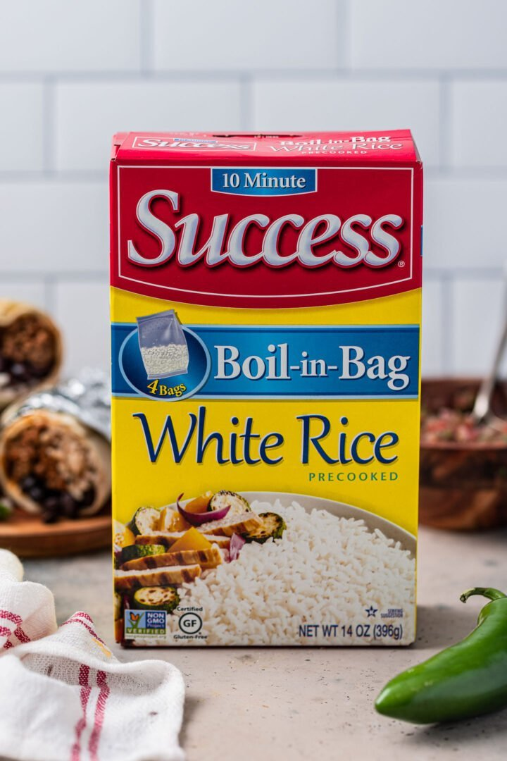 A box of Success white rice.