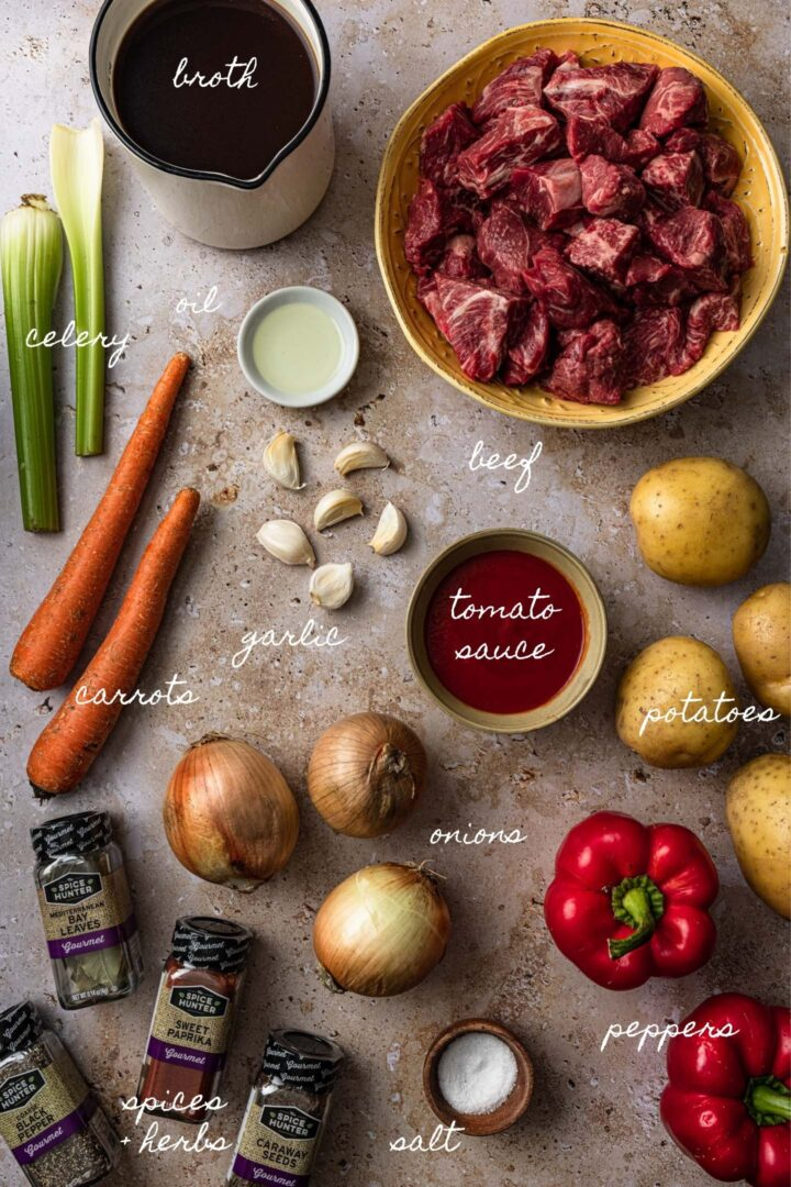 A photo of all the ingredients to make goulash.