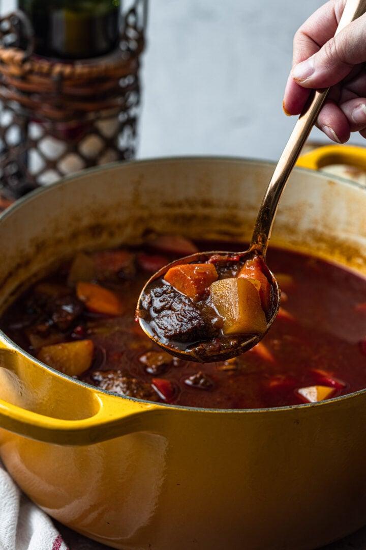A ladleful of goulash soup.