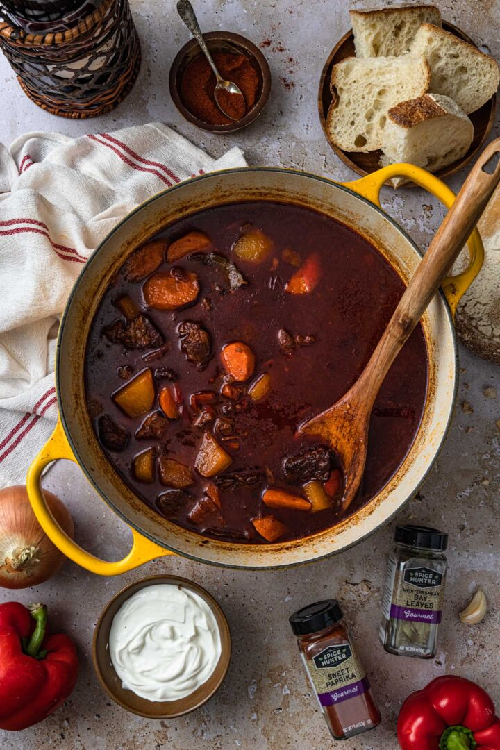 A pot of Hungarian goulash soup.